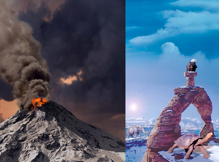 two pictures, a savage volcano erupting, a stone arch on a snowy plateau with an eagle perched on the t shape carved in stone